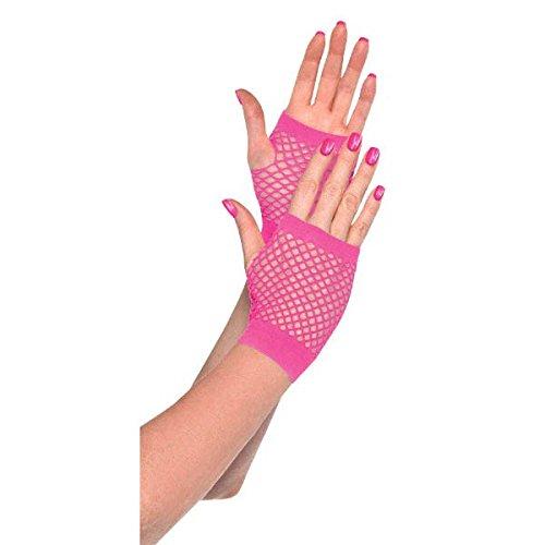 Spiel bereit Team Spirit Party Kurz Fischnetz Handschuhe Accessory, rosa, Stoff, eine Größe, 2Stück