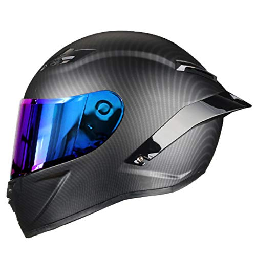 KeRuiLou Casco da Motociclista da Strada con Casco Integrale in Fibra di Carbonio Rainbow1 M