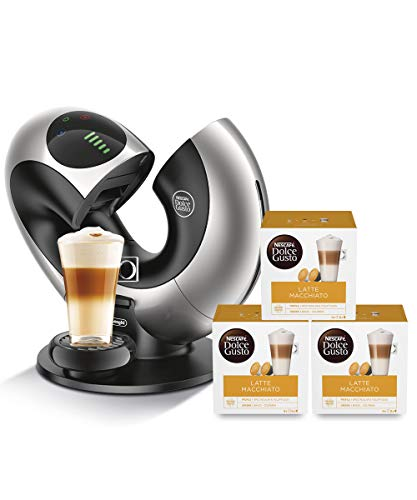 De'Longhi EDG 736.S | NESCAFÉ Dolce Gusto Eclipse | Kapsel Kaffeemaschine | Silber-Metall + NESCAFÉ Dolce Gusto Latte Macchiato | 48 Kaffeekapseln | 3er Pack (3 x 16 Kapseln)