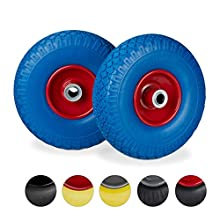 """Relaxdays 2 x Hand Truck Tyre, Non-Flat Solid Rubber Wheels, 3.00-4"""", 20mm Axle, 100 kg, 260 x 85 mm, Blue-Red"""