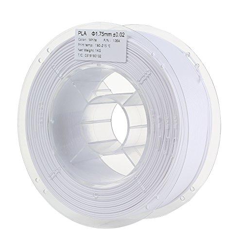Filament de l'imprimante 3D PLA 1,75 mm de diamètre Extrusion 1 kg (2,2 lb) par bobine Blanc HICTOP