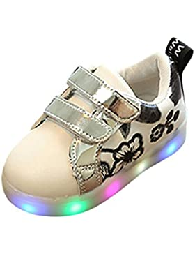 Fuibo Babyschuhe, Kleinkind Kinder Skate Schuhe Kinder Baby Floral LED leuchten leuchtende Turnschuhe