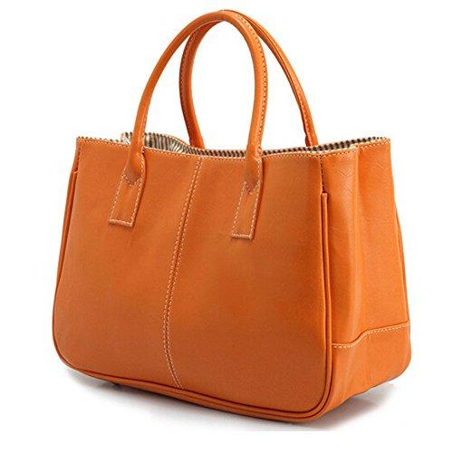 DELEY Mujer Simple Diseño Negocio Asa Superior Bolsa Oficina Hombro Bolso De Las Señoras Naranja