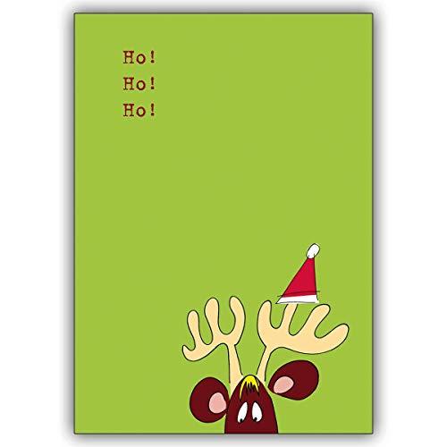 Conjunto de 16: Tarjeta de Navidad cómica, tarjeta de felicitación a Santa Claus con alces de Navidad sorprendidos, inserto de regalo de Navidad con sobre