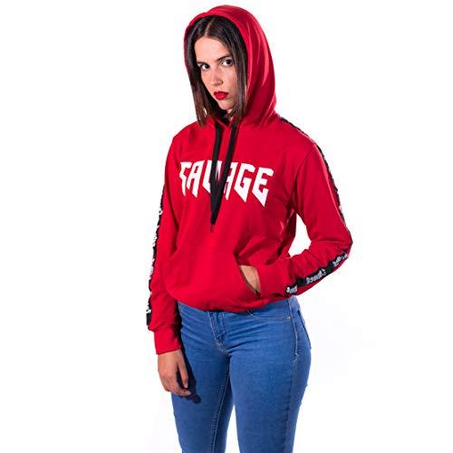 Savage - Tim Cartes Sudaderas Mujer (Rojo, M)