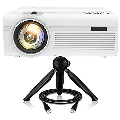 Proiettore QKK [Con Treppiede], Mini Proiettore 3600 Lumens, Video Proiettore Supporta 1080P Full HD, Compatibile con HDMI VGA AV USB TF Dispositivi, Home Theater Proiettore, Bianco.