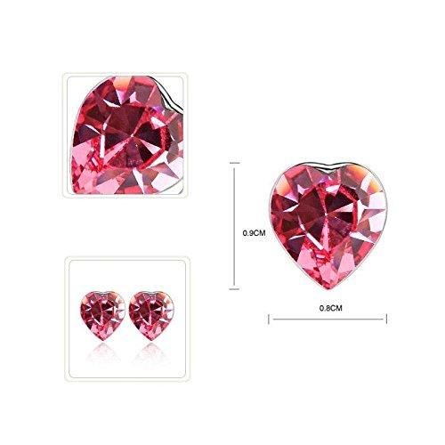 DEPOT TRESOR Parure bijoux « Rencontre» collier & boucles d oreilles en cristal Swarovski Elements NEUF Couleur - Rouge rubis Rose