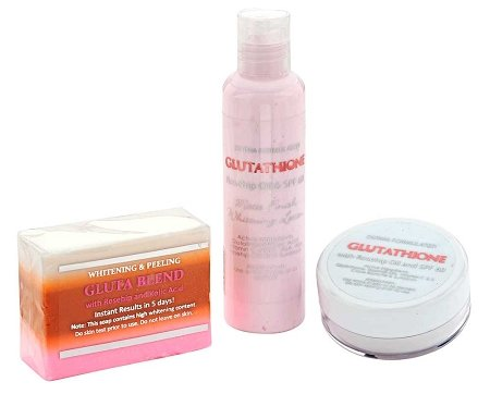 Skin Whitening Lightening 3pc Premium Face & Body Whitening Set w/ Glutathione, Rosehip, and Kojic Acid Body Lotion Soap & Cream by YouLookLight (Aufhellung Bleaching Creme)