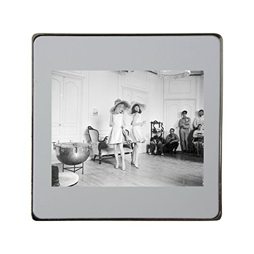 metal-square-fridge-magnet-with-franaoise-dorlacac-and-catherine-deneuve-on-the-set-shooting-the-fil