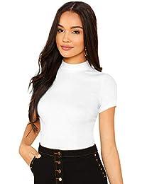 ILLI LONDON Women's Plain Slim FIT TOP & T-Shirt
