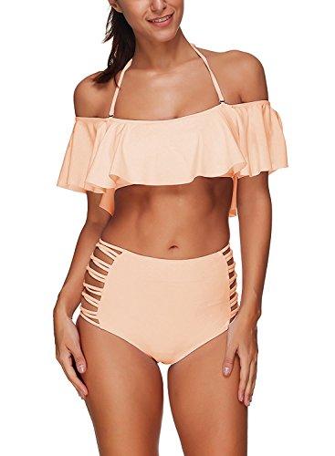 MEMORY BABY Damen Off Shoulder Bikini Set mit Hoher Taille Badeanzug Neckholder Bandeau Bademode (Rosa,X-L/EU40-42)
