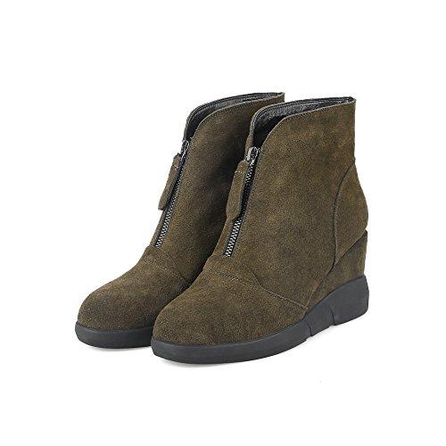 QIN&X Donna punta tonda tacco piatto aumento interno stivali scarpe di grandi dimensioni Green