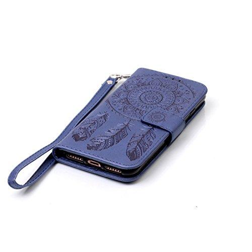 iPhone 8cover case, Ledowp Apple iPhone 8Premium custodia a portafoglio in pelle PU, Full Body campanula modello design custodia magnetica staccabile slot schede PU Flip Cover per iPhone 811,9cm v Navy Blue