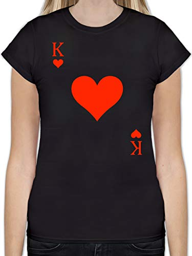 Karneval & Fasching - King Kartenspiel Karneval Kostüm - XXL - Schwarz - L191 - Tailliertes Tshirt für Damen und Frauen T-Shirt
