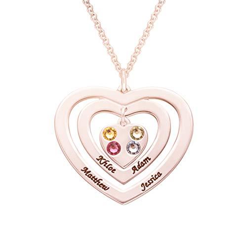 Kostüm Xviii Femme - ASD Jewerly Persönalisierte Silber Halskette Kostüm Name Triple Love Heart Anhänger Halskette Benutzerdefinierte Brief Halsketten Sterling Silber Kette mit Geburtssteine   Collier Femme (Rotgold 18)