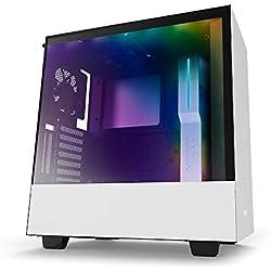 NZXT H500i - Caja PC Gaming compacta de tamaño mediano ATX - Dispositivo inteligente con tecnología CAM - Blanco/Negro - Versión 2018