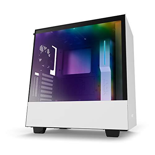 Glas-datenträger (NZXTH500i - Kompaktes ATX-Mid-Tower-Gehäuse für Gaming-PCs - RGB-Beleuchtung und Lüftersteuerung - SmartDevice mit CAM-Unterstützung - Tempered Glass Fenster - Kabelmanagementsystem - Weiß/Schwarz)
