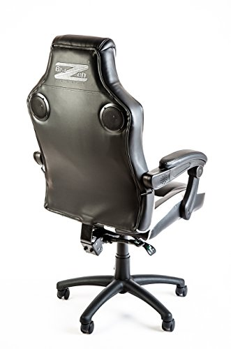 Br AZen Soundchair, Gamer Stuhl mit Sound System, Gaming Stuhl Bluetooth, Multimediastuhl mit Lautsprechern für Gamer, Music Gaming Bluetooth Racing Chair in Schwarz/weiß