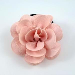 rougecaramel - Elastique cheveux ou bracelet avec fleur camélia - rose poudré