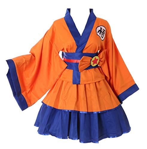 Cosplay Dragon Kostüm Ball - Kawaii-Story MN-77 Dragon Ball Orange Wa-Qi Lolita Japan Kimono Set Fasching Kostüm Cosplay (L)