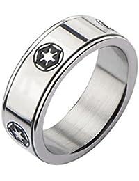 Star Wars Imperio Galáctico símbolo anillo giratorio de acero inoxidable
