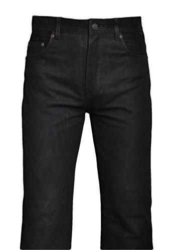 Shamzee Lederhose Leder Jeans Hose aus Nubuck Leder in Schwarz Farbe