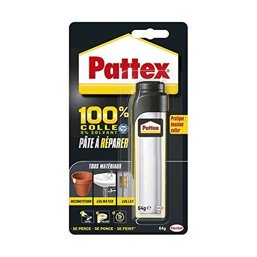 Pattex 100 Pâte à Réparer Multi Usages Pâte Epoxy Bi Composante Pour Collages Sur De Multiples Matériaux Permet De Reconstituer De La Matière Pâte