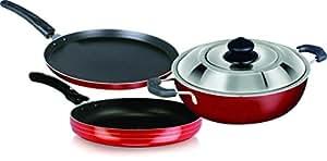 chef master 4 piece gift set (Dosa Tawa, Fry Pan, Kadhai and Lid)