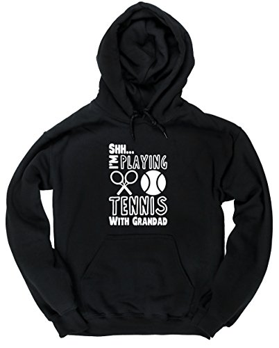 Hippowarehouse Shh. I'm Playing Tennis with Grandad Unisex Hoodie Hooded top (Specific Size Guide in Description)