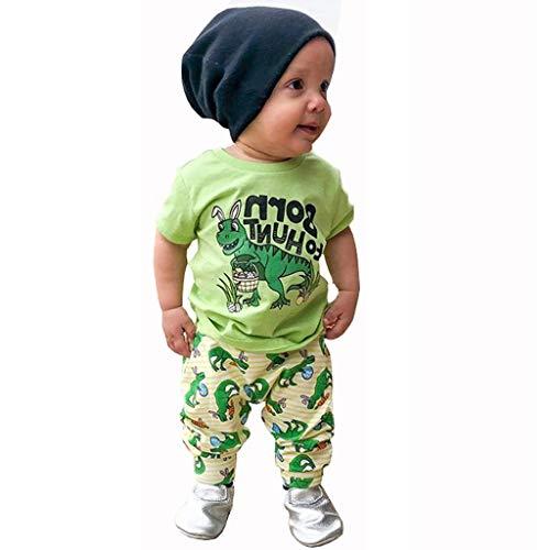 Elsta 2pcs Baby Jungen Kleidung Set Kurzarm T shirt Bluse Tank Top + Shorts für 0-4 Jahre Baby Kinder Frühling-Sommer Baumwoll Casual Dinosaurier Druck Shirt-Hosen Outfits Set