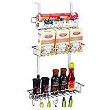 Besteckhalter DREI-Ebenen-Küche Rack 304 Edelstahl Free Punching Seasoning Spatel Wand-Kühlschrank UOMUN