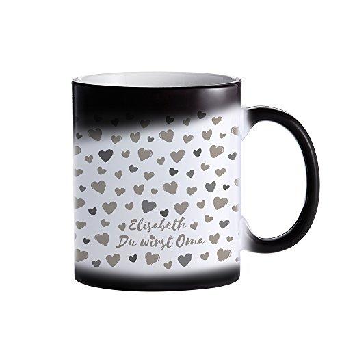 Zaubertasse aus Keramik – Farbwechseltasse für werdende Omas – Du wirst Oma – Personalisiert mit [NAMEN] – Kaffeebecher mit Thermoeffekt – Geschenkidee für zukünftige Großmütter