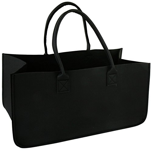 Mikata Fun Shopping Chimenea Madera Cesta para la leña Negro de Piel sintética