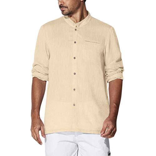 er Baumwollknopf mit Langen ÄrmelnRetro T Shirts Tops Blusen Stehkragen Slim Fit Henley Shirts Lässig T-Shirt Bluse Fließendes Unifarben Hemd Shirt ()