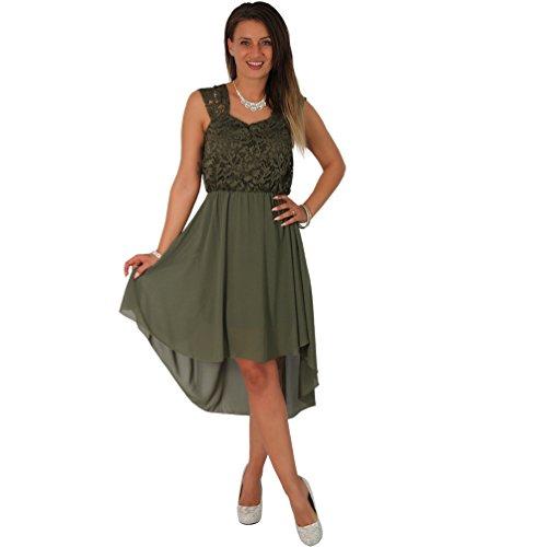 Cocktailkleid Tanzkleid Chiffon Minikleid Vokuhila Kleid Abendkleid  Partykleid Spitze (36 38, Olive) d0ce80bb9a
