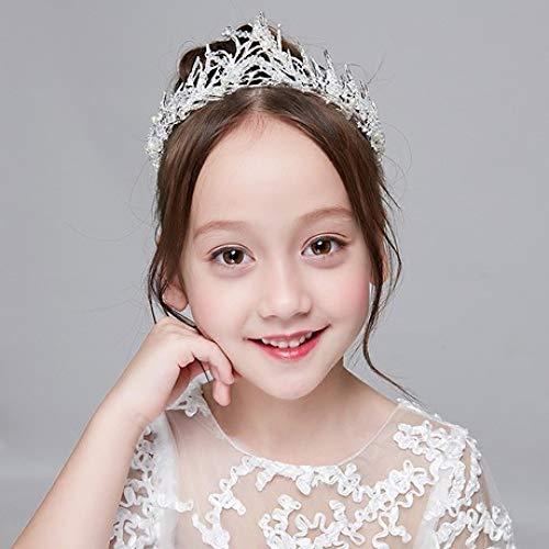 ZENWEN Kinderkrone Kopfschmuck Silber Strass Stirnband Sophia Prinzessin Haarschmuck Aisha Geburtstagsgeschenk