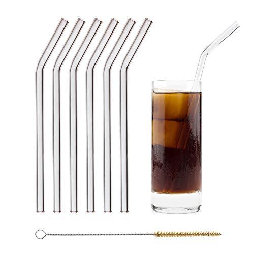 HALM Glas Strohhalme Wiederverwendbar Trinkhalm - 6 Stück gebogen 23 cm + plastikfreie Reinigungsbürste - Spülmaschinenfest - Nachhaltig - Glastrinkhalme Glasstrohhalme für Smoothies, Long-Drinks