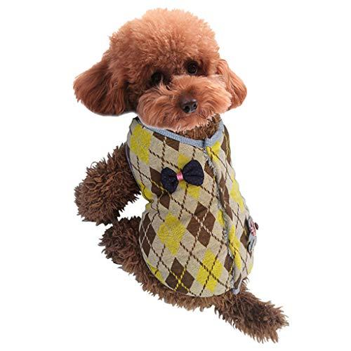 SOMESUN Haustier Hund Baumwolle Jacke Mini Welpe Hund Welpe Winter Warme Schleife Verschönert Klassische Gitter Hund Mantel Baumwolle Winterjacke Stretch Hund Mantel Shirt -