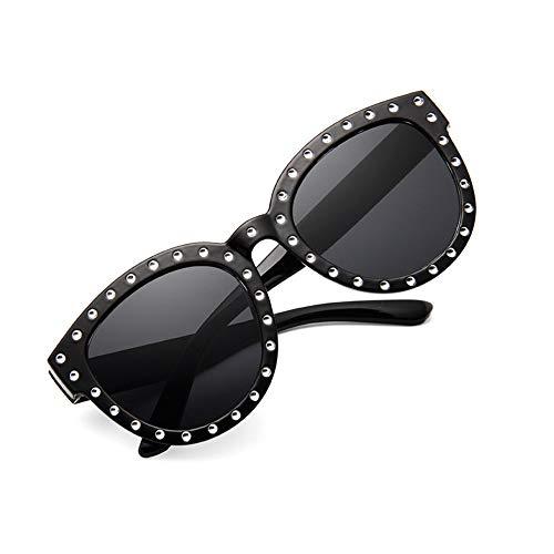 ZHOUYF Sonnenbrille Fahrerbrille Luxus Italienische Marke Sonnenbrillen Frauen Kristall Quadrat Sonnenbrille Spiegel Retro Volle Stern Sonnenbrille Weiblich Schwarz Grau Shades, A