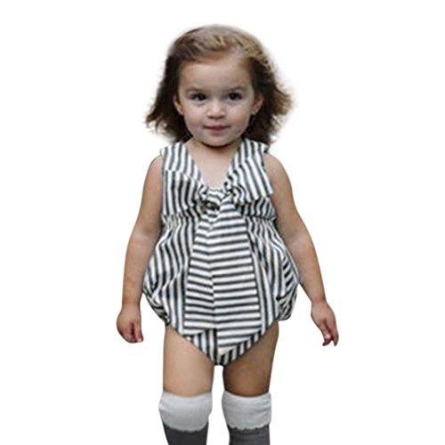 (Tatis Sommer Baby Mädchen Infant Gestreiften Bogen Ärmellose Kleidung Jumpsuit (Größe:24 Monate, Grau))