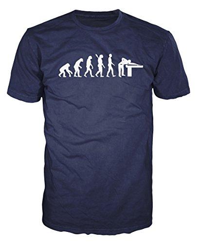 Snooker Player Evolution Funny T-shirt (XL, Navy Blue)