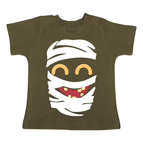 Karneval und Fasching Baby - Mumie Karneval Kostüm - 1-3 Monate - Olivgrün - BZ02 - Baby T-Shirt Kurzarm (Mumie Mädchen Kostüme Für Kinder)