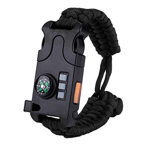 Paracord Survival Armband, multifunktionales Notfall Survival Paracord Armband mit Whistl Mini Compass LED Taschenlampe für Outdoor Camping(Schwatz)