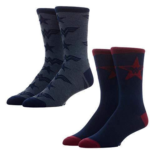 DC Comics Bioworld Wonder Woman - Calcetines para Hombre (tamaño de calcetín 10-13 US, Talla de Calzado 8-12 US) - 2 Pares