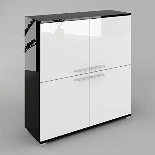 Labi Meubles KR6 Commode Buffet Cosmo façades brillantes Corps : noir : blanc brillant