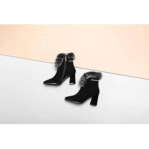 Donna Martin Stivali WSXY5201 Inverno con Frange Laterali Accessori Serie Vintage,KJJDE black