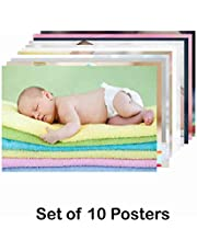 Paper Plane Design Born Baby Girl/Boy Poster for Wall Pregnant Women Cute Large Posters in Room Bedroom with Big Size Matt Finish, Size - 12 x 18 Inch, Set of 10 Photo
