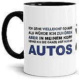 Auto-Tasse mit Spruch'Ich hör nicht zu - Ich denke die ganze Zeit an Autos' Geschenk für den...