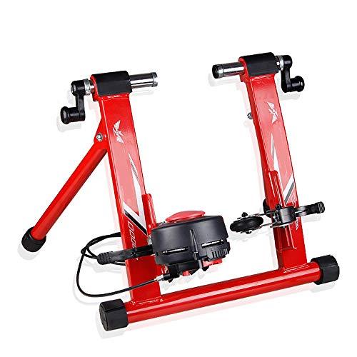 Oipoodde Turbo Trainer Drahtgesteuerte Indoor Mountain Road Fahrrad Trainingsplattform Variabler Widerstand Indoor Bike Trainer Indoor Fahrrad (Farbe : Rot, Größe : 26-28