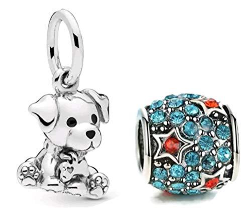 Marni's - 2 Abalorios, un perro plateado y una bolita de estrellas decorada con cristales - Charms para pulseras y collares estilo europeo. Regalo de navidad y cumpleaños para mujeres y niñas